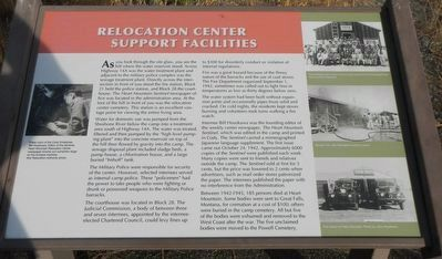 Relocation Center Support Facilities Marker image. Click for full size.