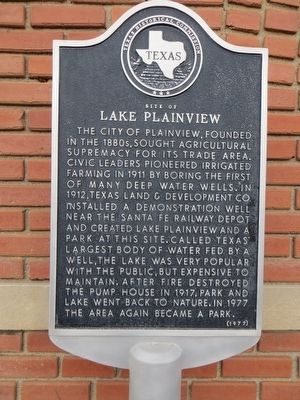 Site of Lake Plainview Marker image. Click for full size.