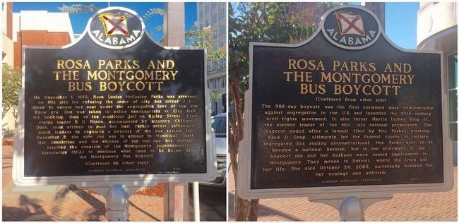 Rosa Parks and the Montgomery Bus Boycott new marker. image. Click for full size.