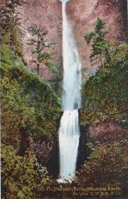 <i>Multnomah Falls, Columbia River. On Line O.W.R. & N. Co.</i> image. Click for full size.