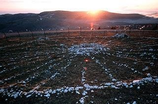The Bighorn Medicine Wheel at Summer Solstice Sunrise. image. Click for full size.