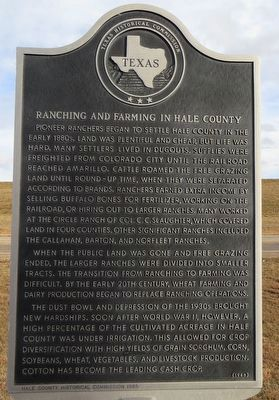 Ranching and Farming in Hale County Marker image. Click for full size.
