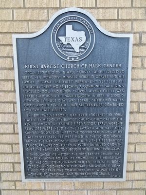 First Baptist Church of Hale Center Marker image. Click for full size.