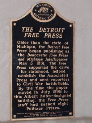 The Detroit Free Press Marker image. Click for full size.