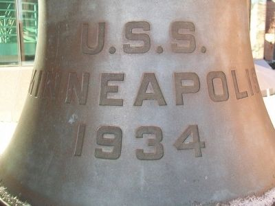 USS Minneapolis (CA-36) Bell Detail image. Click for full size.