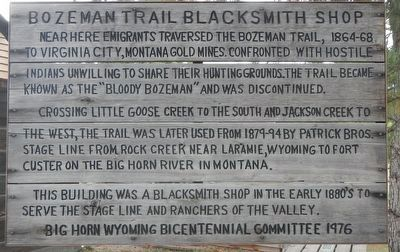 Bozeman Trail Blacksmith Shop Marker image. Click for full size.
