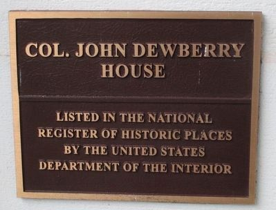 Dewberry Plantation House National Register Plaque image. Click for full size.