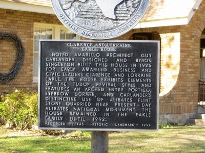 Clarence and Lorraine Eakle House Marker image. Click for full size.