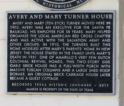 Avery and Mary Turner House Marker image. Click for full size.