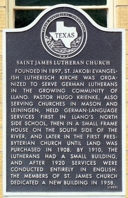 Saint James Lutheran Church Texas Historical Marker image. Click for full size.