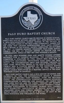 Palo Duro Baptist Church Marker image. Click for full size.