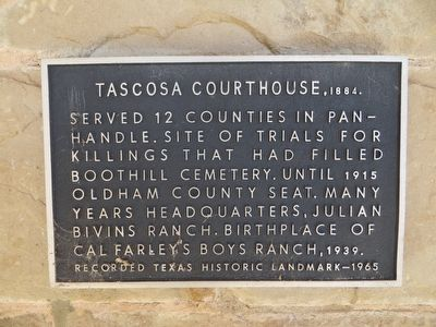 Tascosa Courthouse, 1884 Marker image. Click for full size.