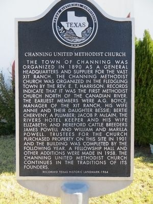 Channing United Methodist Church Marker image. Click for full size.