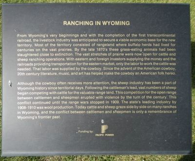 Ranching in Wyoming Marker image. Click for full size.