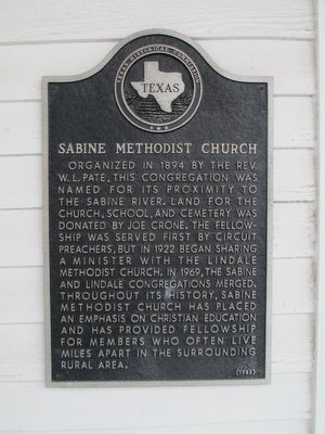 Sabine Methodist Church Marker image. Click for full size.