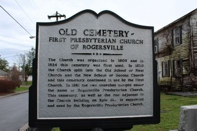 Old Cemetery - First Presbyterian Church of Rogersville Marker image. Click for full size.