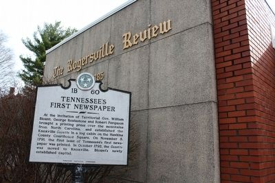 Tennessee's First Newspaper Marker image. Click for full size.