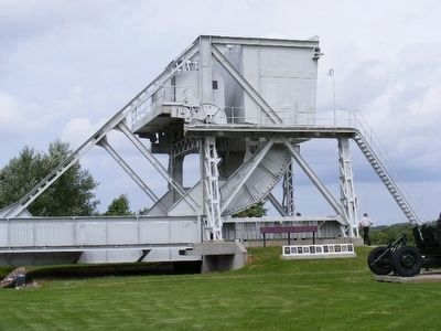 Old Pegasus Bridge on the site of the Memorial Pegasus Museum image. Click for full size.