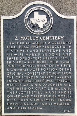 Z. Motley Cemetery Texas Historical Marker image. Click for full size.