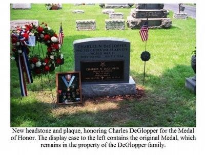 PFC Charles DeGlopper Grave Marker-Replaces old marker image. Click for full size.