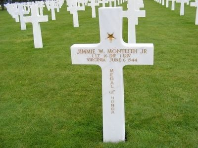 Jimmie W. Monteith Jr grave marker-Killed in Action image. Click for full size.