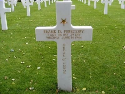 Frank D. Peregory grave marker-Killed in Action image. Click for full size.