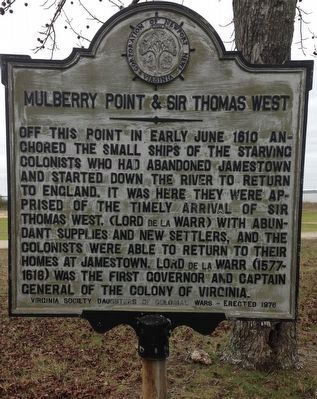 Mulberry Point & Sir Thomas West Marker image. Click for full size.