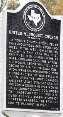 United Methodist Church of Coolidge Texas Historical Marker image. Click for full size.