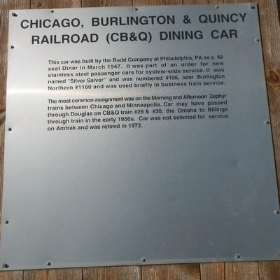 Chicago, Burlington & Quincy Railroad (CB&Q) Dining Car Marker image. Click for full size.