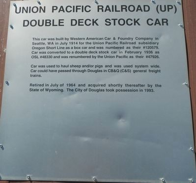 Union Pacific Railroad (UP) Double Deck Stock Car Marker image. Click for full size.