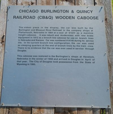 Chicago Burlington & Quincy Railroad (CB&Q) Wooden Caboose Marker image. Click for full size.