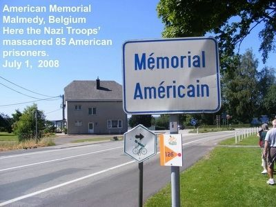 American Massacre Memorial road sign image. Click for full size.
