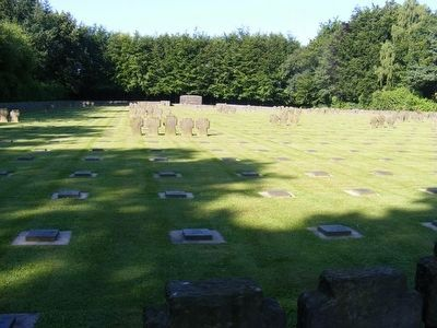 German War Cemetery Vossenack-Two types of grave markers image. Click for full size.