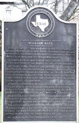 William Rees Texas Historical Marker image. Click for full size.