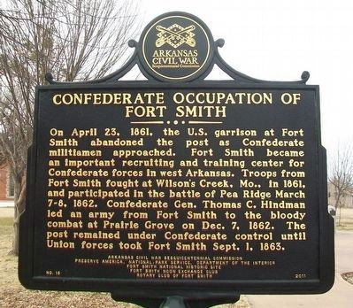 Confederate Occupation of Fort Smith Marker (Side A) image. Click for full size.