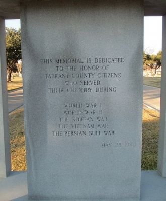 "Tarrant County War Memorial ""Spirit of the American Doughboy"" Monument Front Inscription image. Click for full size."