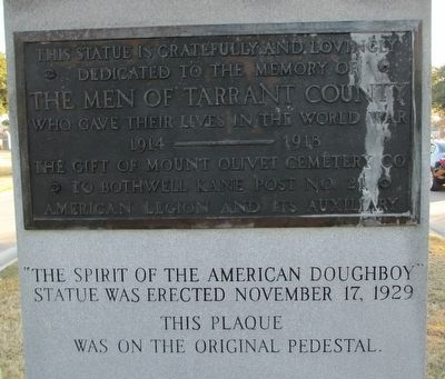 "Tarrant County War Memorial ""Spirit of the American Doughboy"" Monument Rear Inscription image. Click for full size."