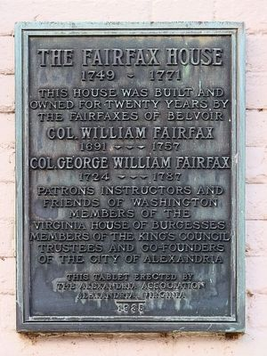 The Fairfax House Marker image. Click for full size.