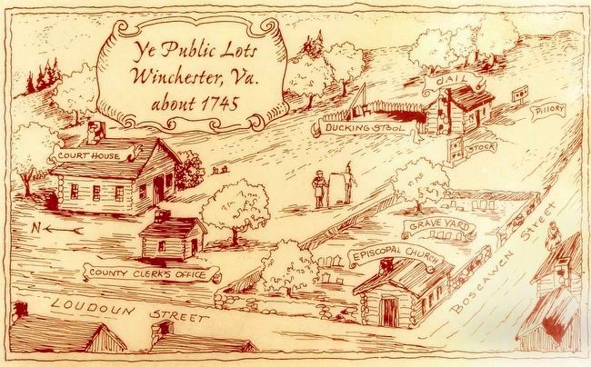 Ye Public Lots<br>Winchester Va.<br>about 1745 image. Click for full size.