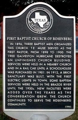 First Baptist Church of Rosenberg Marker image. Click for full size.