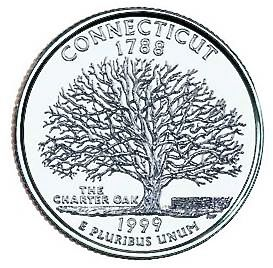 Connecticut State Quarter image. Click for full size.