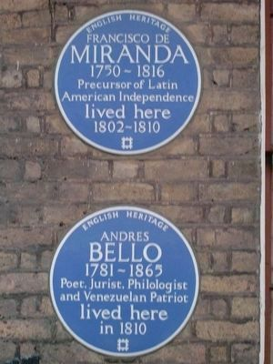 Blue plaques commemorating Bello and Francisco Miranda on 58 Grafton Way, London image. Click for full size.