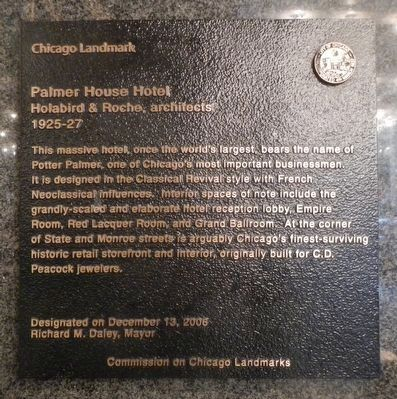 Palmer House Hotel Marker image. Click for full size.