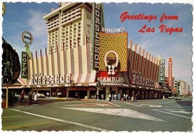 "Vintage postcard showing the Horseshoe casino and the ""H"" Wall image. Click for full size."