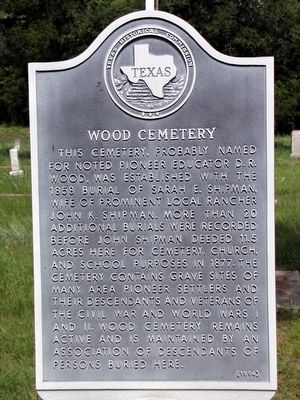 Wood Cemetery Texas Historical Marker image. Click for full size.