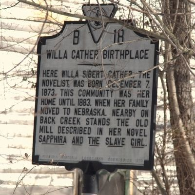 Willa Cather Birthplace Marker image. Click for full size.