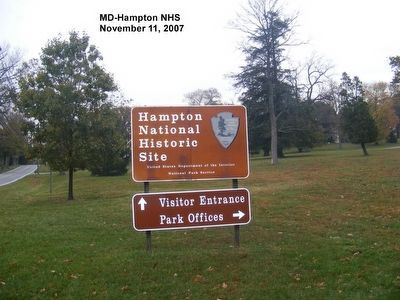 Sign at the entrance to the Hampton National Historic Site image. Click for full size.