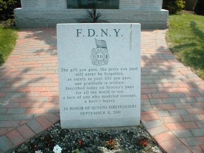 In Honor of Queens Firefighters Marker image. Click for full size.