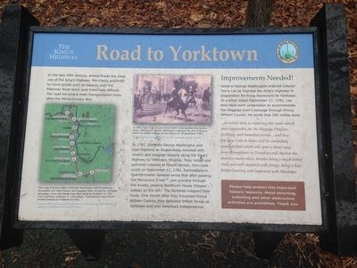 The Kings Highway ~ Road to Yorktown Marker image. Click for full size.