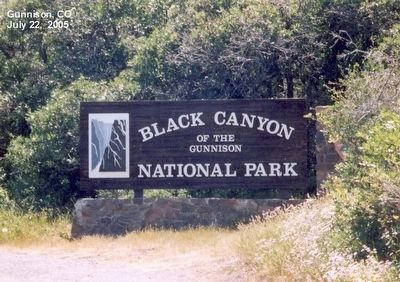Black Canyon of the Gunnison National Park-Sign at the entrance to the park image. Click for full size.